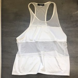 SOLOW White Mesh Workout Top